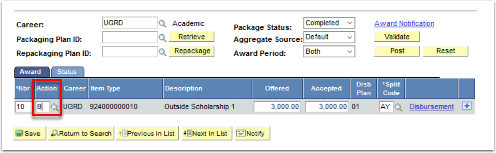 Student Aid Package tab