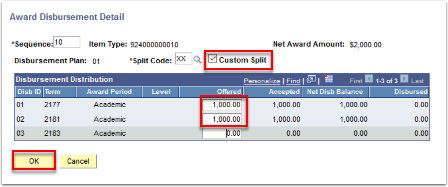 Award Disbursement Detail page - Custom Split box and Offered box highlighted