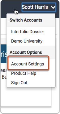 Click the Account Settings Link in the User Menu