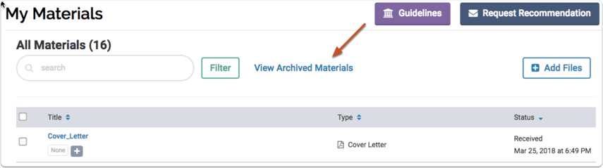 """Select the """"Archived Materials"""" tab"""