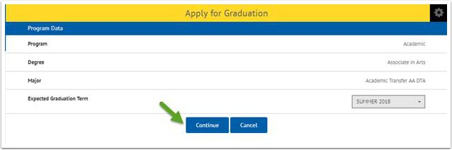 Apply for Graduation page - continue button highlighted