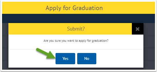Apply for Graduation - Yes button highlighted