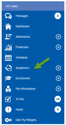 My links option with Academics menu item highlighted