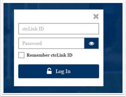 ctcLink login screen