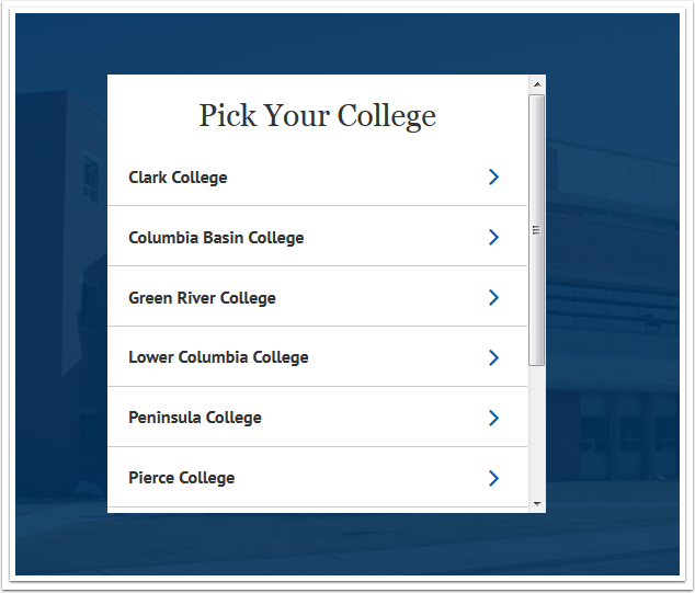 Pick Your College menu page
