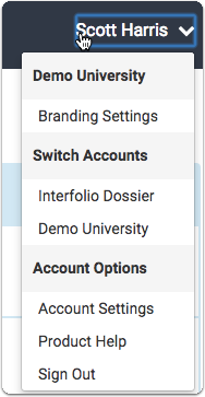 To access the settings for your account: