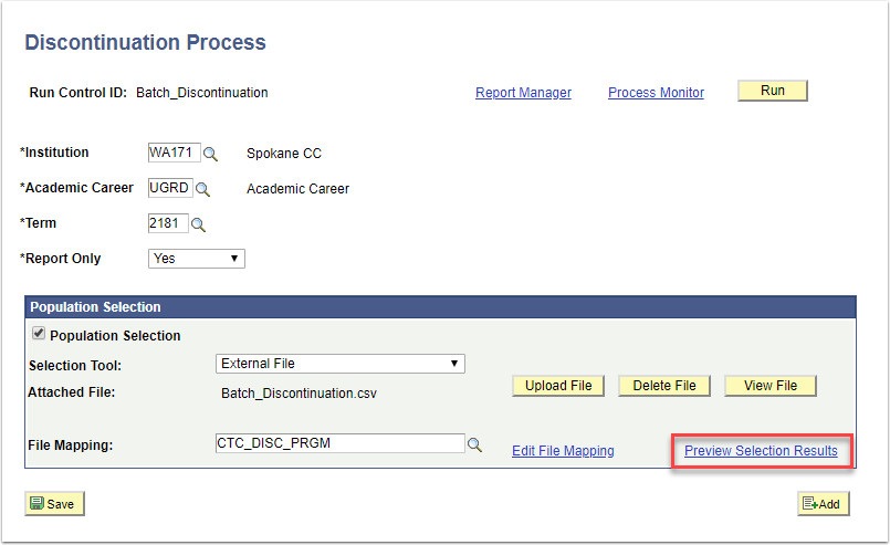 Discontinuation Process page - Preview Selection Results link