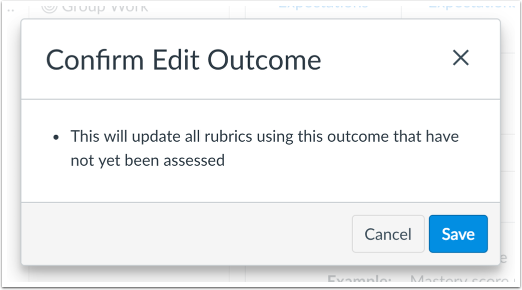 View Outcome Edit Confirmation