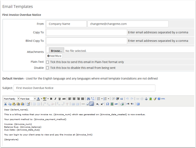 Editing an Email Template