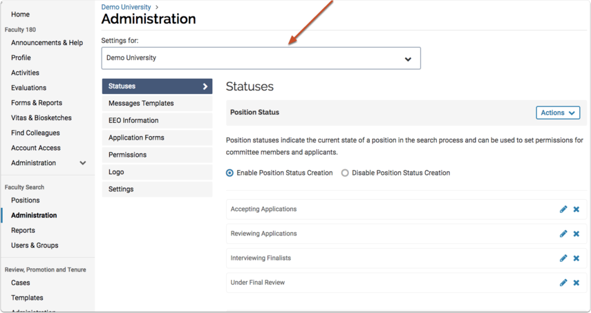 Overview of to the Administration page