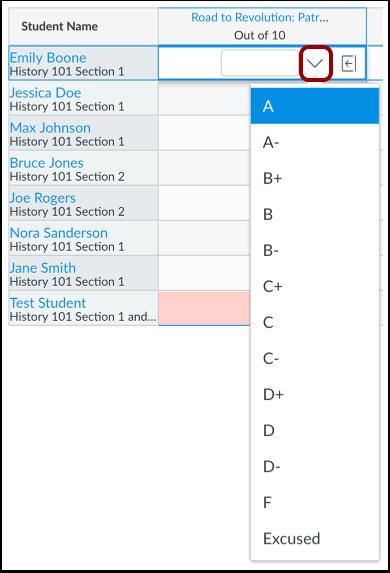 Enter Letter Grade