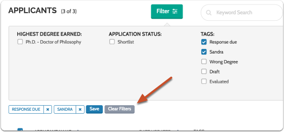 The list will be filtered according to your settings and the filters will appear above the list