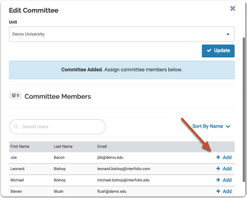 Assign users to the committee