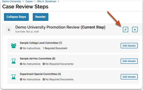Click the pencil icon to edit the step from which you want to recuse an Administrator