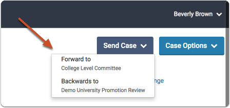 "-or- You can open the case of the candidate and click ""Send Forward"" or ""Send Backward"" to move the case"