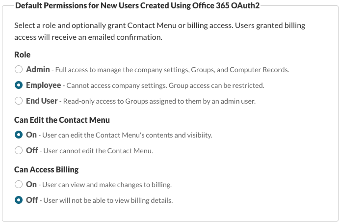 Default Permissions for New Users Created Using Office 365 OAuth2