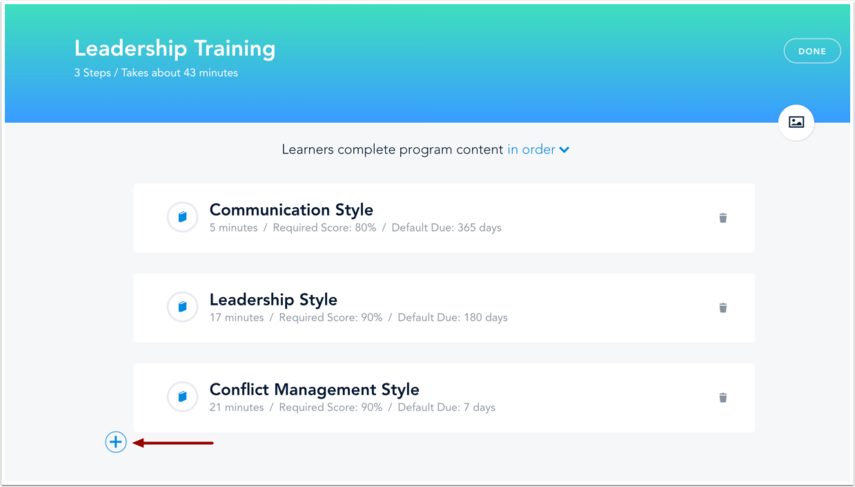 Click Add Learning Content icon