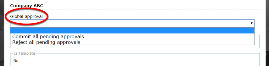 To approve or reject changes to the listing, click on the dropdown menu under Global Approval.