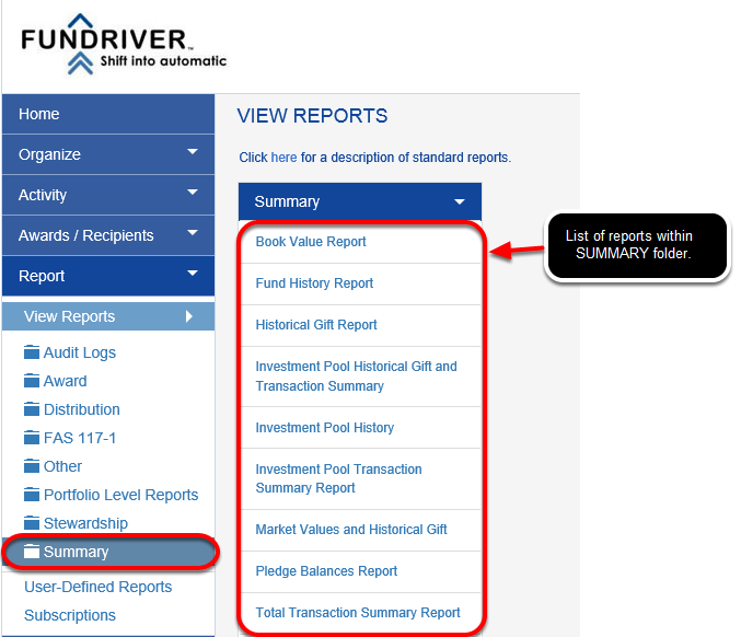 Reports are categorized by purpose and organized in folders.  Clicking on each folder will allow you to view and access the reports in that folder.