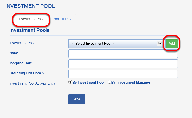 In the INVESTMENT POOL tab, click on the green ADD button.
