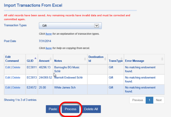 Once new funds are added to Fundriver, return to the COPY FROM EXCEL tab and PROCESS the remaining records.