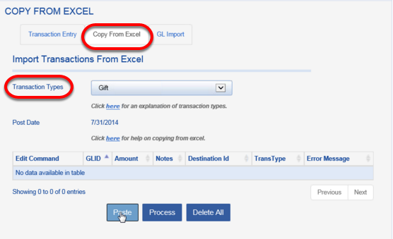 Click on the COPY FROM EXCEL tab and choose your TRANSACTION TYPE.