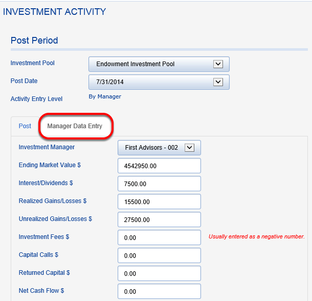 If you have the Investment Portfolio Module, instead of entering investment information at the pool level, you will enter and reconcile it for each manager statement.  The process is the same, but enter information from each of the custody statements individually.