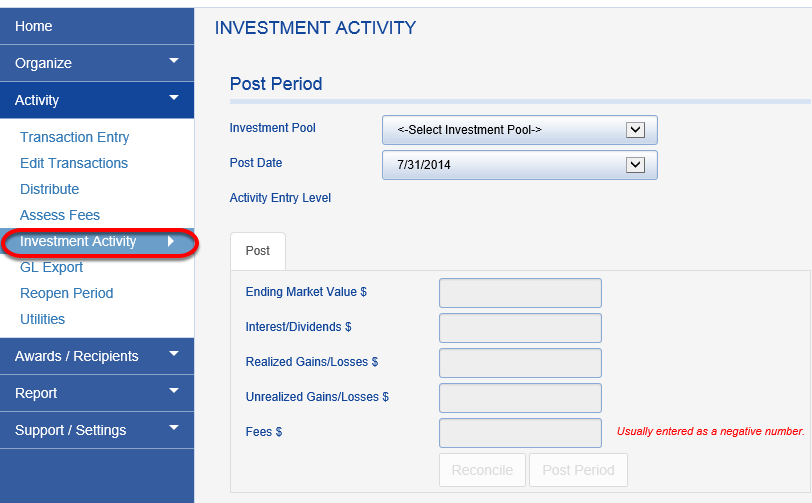Once you have completed those steps, click on ACTIVITY > INVESTMENT ACTIVITY.