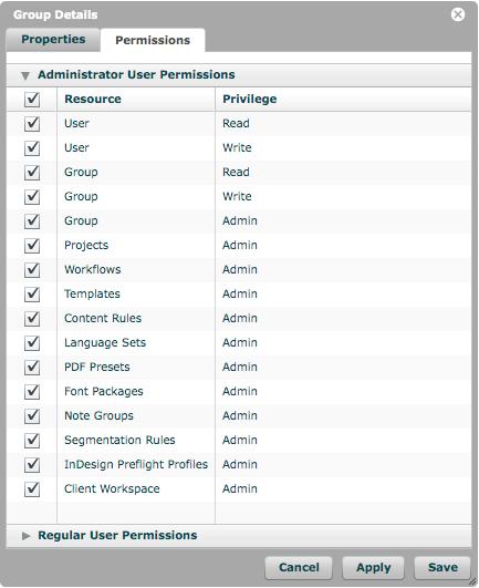 Administrator User Permissions