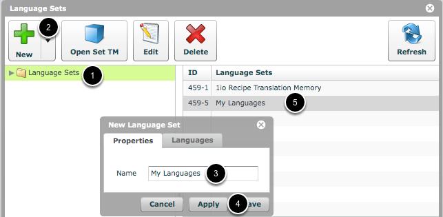 Create a new Language Set
