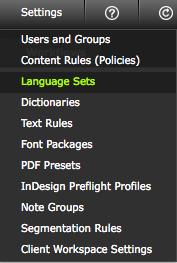 Click 'Language Sets'
