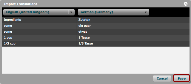 Example: What the 'Import Translations' window will look like