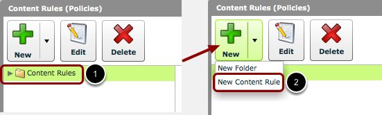 Create 'New Content Rule'