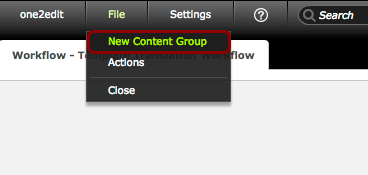 Click 'File > New Content Group'