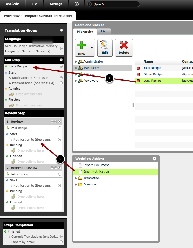 Populate the workflow track with users and actions