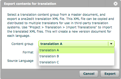 Select which content group to export