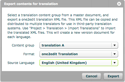 Select the source language of the content group