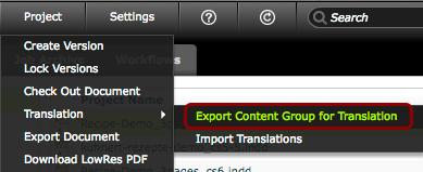 Project > Translation > Export Content Group for Translation