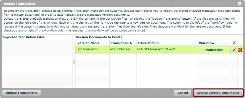 Click 'Create Version Documents'