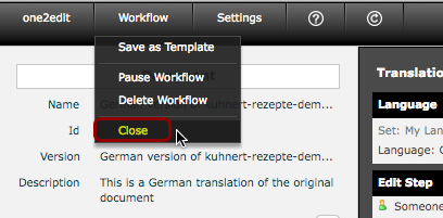 Close the Workflow view
