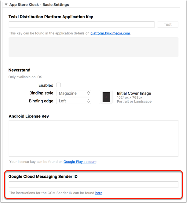 9. Enter GCM Sender ID in build setting
