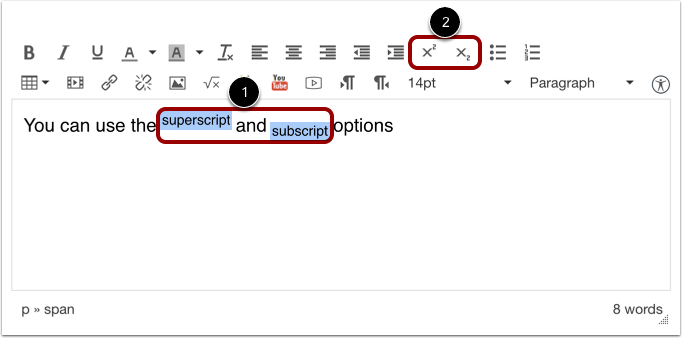 Superscript and Subscript Text