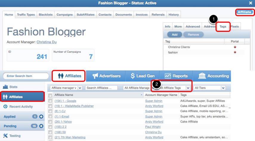 Adding tags to Affiliates