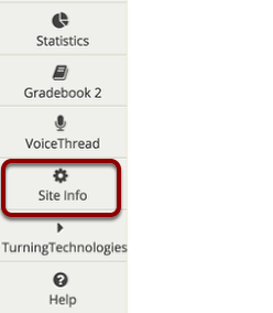 "Click ""Site Info"" in the left margin"
