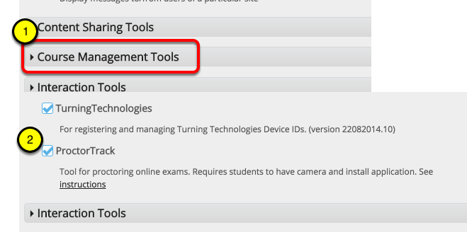 "Click ""Course Management"" to expand section"