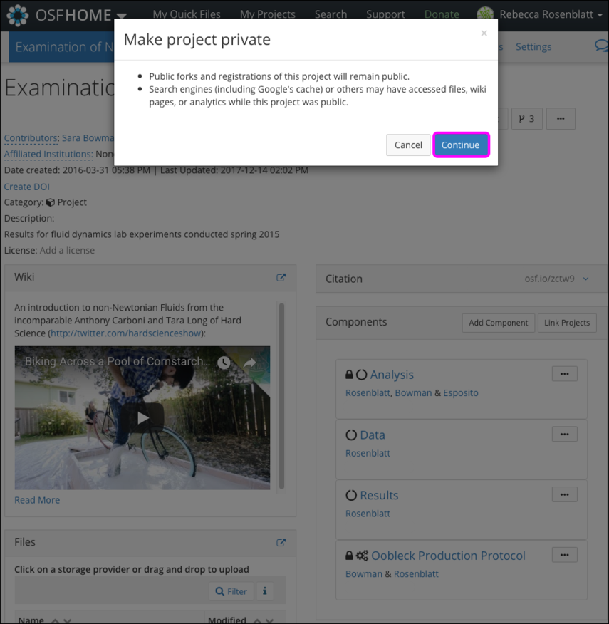 "The ""Make project private"" Modal"