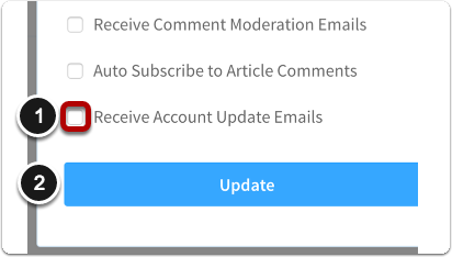 Select Receive Account Update Emails