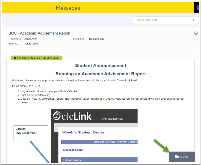 Archive Messages page