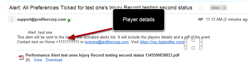 #4 Append with Player Details: The athlete's contact details can be selected to appear in any alerts