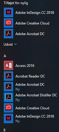 """Du kan nu finde de installerede programmer under """"Alle programmer"""" i Start-menuen"""